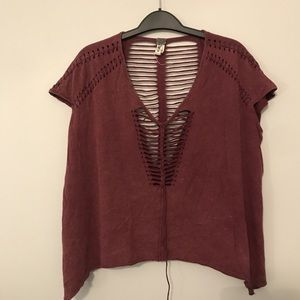maroon cut out cap sleeve top